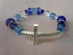 Shades of blue sideways cross