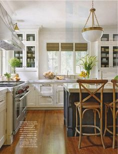 Home Decor Inspiration : Brass light fixture white kitchen painted island wood natural accents. Big Kitchen, Kitchen Paint, Kitchen Redo, Navy Kitchen, Kitchen Ideas, Kitchen Colors, Kitchen Island, Kitchen Pulls, Kitchen Designs