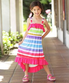 Another great find on #zulily! Fuchsia Rainbow Stripe Hi-Low Dress - Girls by Freckles + Kitty #zulilyfinds