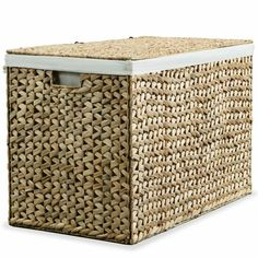 Large Laundry Basket With Lid Storage Organiser Unit Weave Rattan Water Hyacinth #Unbranded #AsianOriental Wooden Laundry Basket, Double Laundry Hamper, Laundry Basket With Lid, Wicker Laundry Hamper, Laundry Sorter, Collapsible Storage Bins, Lid Storage, Storage Boxes, Storage Baskets