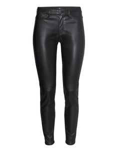 Check this out! 5-pocket, low-rise pants in imitation leather with slim legs. - Visit hm.com to see more.