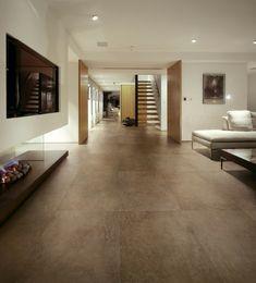 flur mit nur 2 xxl fliesen ausgelegt. #fliesen #beton | fliesen in ... - Dunkle Fliesen Wohnzimmer Modern