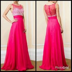 Jeweled Mesh Top Floor Length Formal Prom Dress. Sheer mesh top is bejeweled with varied sizes of rhinestones. Ruched waistband with floor length A-shape skirt. Sheer mesh back with rhinestones & zipper closure also. Imported. Full length chiffon gown ...