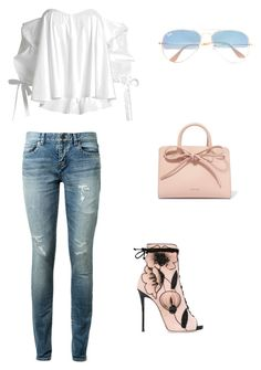 """""""for saturday afternoon"""" by szilvi-srei on Polyvore featuring Caroline Constas, Yves Saint Laurent, Giuseppe Zanotti, Mansur Gavriel and Ray-Ban"""