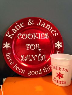 Christmas Santa cookies-could make a charger plate like this...