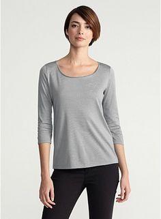Scoop Neck 3/4-Sleeve Top in Silk Cotton Jersey