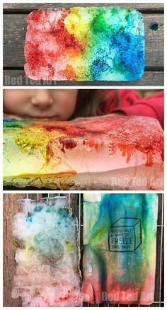 """Simple Wreck This Journal Ideas for Kids. FREEZE This Page. We had great fun with the """"find a way to freeze this page"""" prompt and took inspiration from Jean at The Artful Parents Salt & Ice Experiment. So so sooo fun. Love this Simple Wreck this Journal. Full Process Steps shown!"""