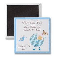 Blue stroller & birds Save the Date Baby Shower magnets. $3.35. Good volume discounts. Easy to personalize. Best seller from Groovy Graphics Designs