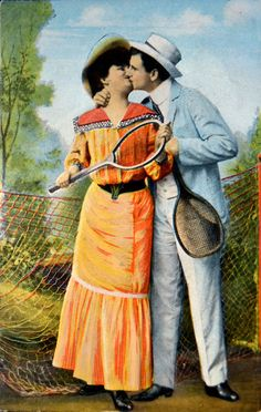 vintage postcard...can you imagine playing tennis is dresses, suits & hard shoes?