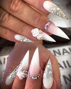 Nail Shapes - My Cool Nail Designs Aycrlic Nails, Glam Nails, Hot Nails, Bling Nails, Funky Nail Art, Funky Nails, Nagellack Design, Diamond Nails, Luxury Nails