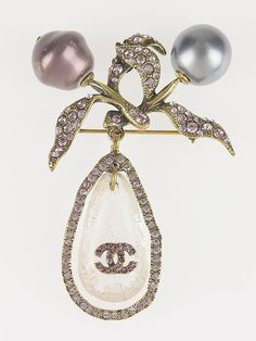 Chanel Pearl and Crystals CC Dangling Brooch