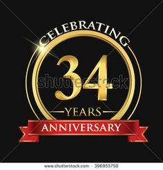 Celebrating 34 years anniversary logo. with golden ring and red ribbon. - stock vector