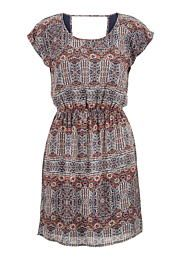 patterned open scoop back chiffon dress - maurices.com