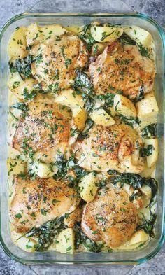 chicken potatoes garlic parmesan cream sauce