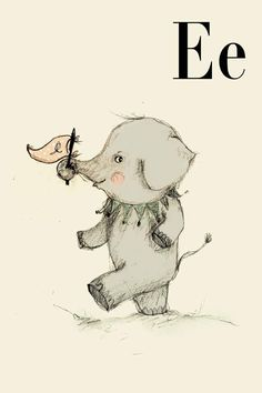 E for Elephant, Alphabet animal,  Print 8x11 inches