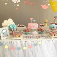 Super Baby Shower Vintage Girl Decor First Birthdays Ideas Rainbow Birthday, Rainbow Baby, Girl Decor, Baby Decor, Shower Party, Baby Shower Parties, Birthday Party Decorations, Birthday Parties, Cloud Party