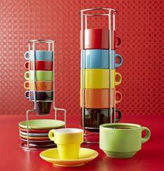 Pier 1 Mug Sets make bright additions to a kitchen counter