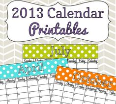 Colorful 2013 Calendar Printables