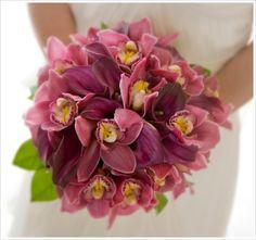 Magenta/Rasberry orchid bridal bouquet