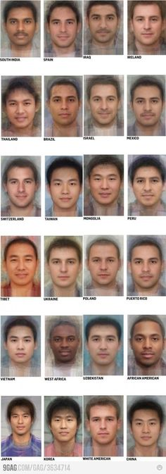 """Average"" look of a man from each country by superimposing dozens of photos - interesting!"