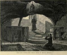 """Dome Of The Rock/   """"The Cave Under the Great Rock on Mount Moriah"""" — known as the Well of Souls. (Illustration from Stanley Lane-Poole's Picturesque Palestine, Sinai and Egypt, 1883.)"""