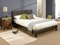 """Snuggle Beds Nadia Brown.  4' 6"""" Double Faux Leather Bed"""
