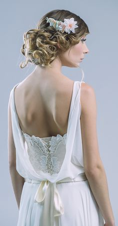 Back detail!  Ethereal lace and chiffon two piece wedding dress from petitelumiere.com