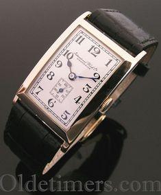 A 9ct gold rectangular vintage I.W.C. Ltd. watch, 1933