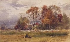 """October Day,"" Robert Swain Gifford, 1879, watercolor on paper, 10 3/8 x 16 7/8"", Farnsworth Art Museum."