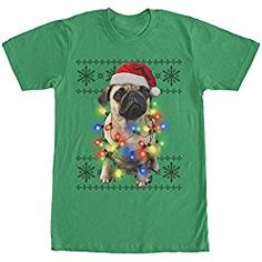 Lost Gods Ugly Christmas Sweater Pug Lights Mens Graphic T Shirt Mens Ugly Christmas Sweater, Dog Christmas Gifts, Gifts For Dog Owners, Dog Lover Gifts, Dog Lovers, Kelly Green, Online Gifts, Pugs, T Shirt