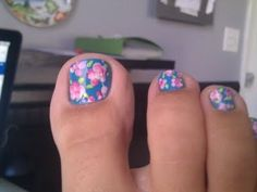 Floral..so cute.  Could even paint a couple toes solid blue and solid pink...