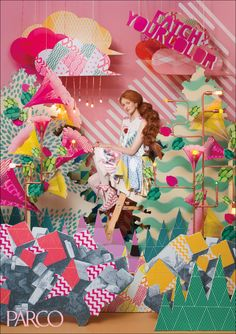 Catch Your Color - Parco Bg Design, Stage Design, Window Design, Layout Design, Dm Poster, Graffiti, Photocollage, Japanese Graphic Design, Creative Advertising