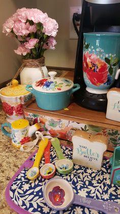 Café Thé Tasses le Pioneer Femme Vintage Floral Bleu Sarcelle 16-Once tasses Lot de 4
