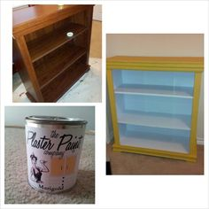 Bookshelf painted with The Plaster Paint Company in marigold yellow