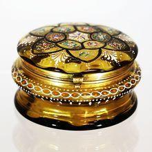 "5"" Antique Bohemian Moser hinged trinket Box, olive amber enameled art glass"