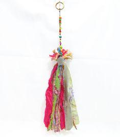 keychain Beautiful  boho Handmade keychain Fabric tasel, Beaded decoration. Wall Hanging Decoration