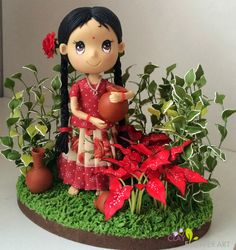 Hand crafted South Indian Girl - Cutie Doll | Clay Flower Art