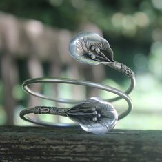 Ethnic silver flower arm bracelet Unique handmade Bohemian bangle