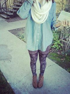 Denim shirt tribal leggings casual wear