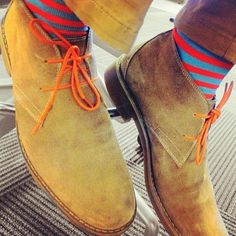 Desert Boot x Colored Laces x Striped Sock Swag | Raddest Men's Fashion Looks On The Internet: http://www.raddestlooks.org