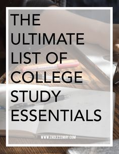 The Ultimate List of College Study Essentials: When it's time to hit the library for a night (or day) of studying, make sure you have all of the essentials necessary to have a productive, painless and focused study session.