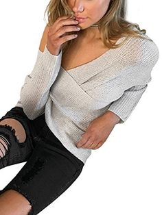 BerryGo Women s Criss Cross Wrap V Neck Long Sleeve Knit Sweater Jumper 056fb0290