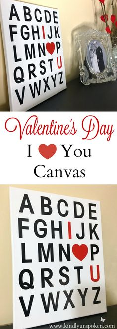 DIY Valentine's Day I Love You Canvas- The cutest, easiest Valentine's Day DIY to make this year! Literally only takes just a few minutes to make and this canvas will look great in your home!
