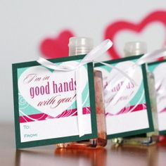 Pair this free printable with lotion or hand sanitizer for a cute teacher or caregiver gift this V-Day!