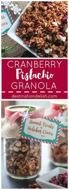 Cranberry Pistachio Granola - A sweet and tangy snack filled with dried cranberries, pistachios, and oats infused with spices and cranberry sauce. Brunch Dishes, Brunch Recipes, Breakfast Recipes, Cereal Recipes, Sweets Recipes, Gluten Free Granola, Christmas Food Gifts, Breakfast On The Go, Healthy Snacks