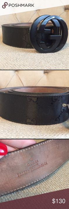 Gucci belt - black Used condition still tons of life left in this beauty.. very small crack in the buckle as seen in photo four - no other flaws to the exterior of the belt! Yes it's authentic! Gucci Accessories Belts
