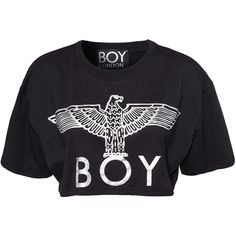 Boy London Boy Eagle Croptop ($48) ❤ liked on Polyvore featuring tops, shirts, crop top, crop, blusas, womens-fashion, eagles shirt, ribbed crop top, ribbed top and boy london