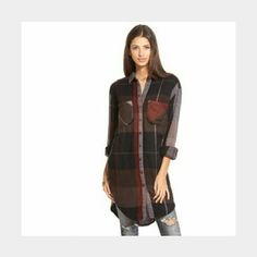 Free People Plaid Tunic Stay warm this winter in this awesome Street Talk Buttondown Plaid tunic by Free People.   Like new condition. No rips, holes, or stains. Free People Tops Button Down Shirts
