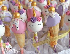 Unicorns and ice-cream cones in soft pink and purples Cake Pops - SmartieBox Cake Studio