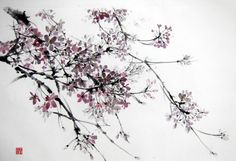 Cherry Blossom5 Japanese Ink Painting Large painting by Suibokuga, €78.00